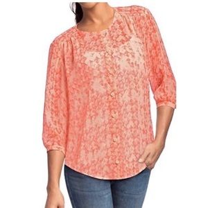 CAbi 756 Coral Silk Sheer Emerson Top